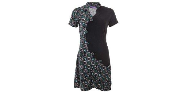 Dámské vzorované šaty s knoflíky Purple Jam