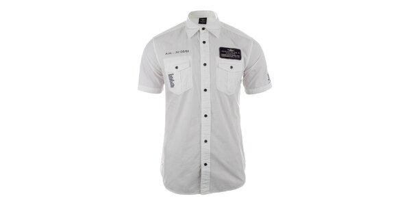 Pánská bílá košile s kapsami Aeronautica Militare