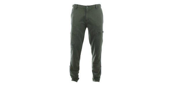 Pánské khaki kalhoty se zipovými kapsami Aeronautica Militare