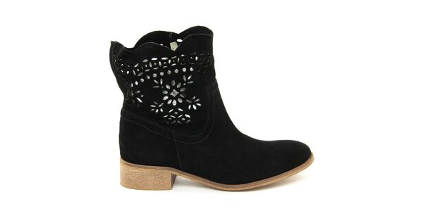 Dámské kotníčkové semišové boty černé Giorgio Picino