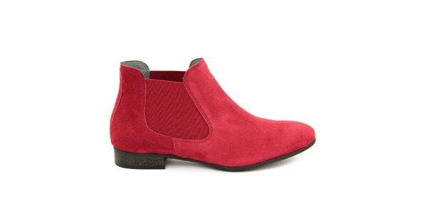 Dámské červené semišové kotníčkové boty Giorgio Picino