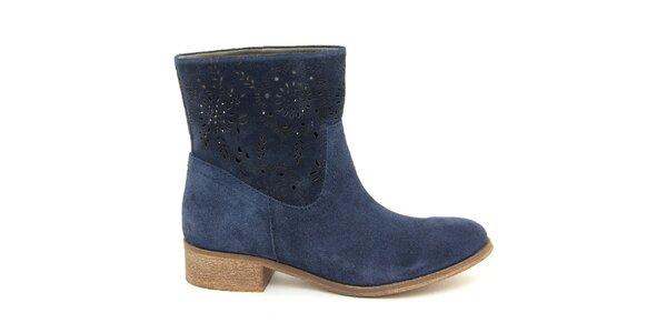Dámské tmavě modré semišové kotníkové boty Giorgio Picino