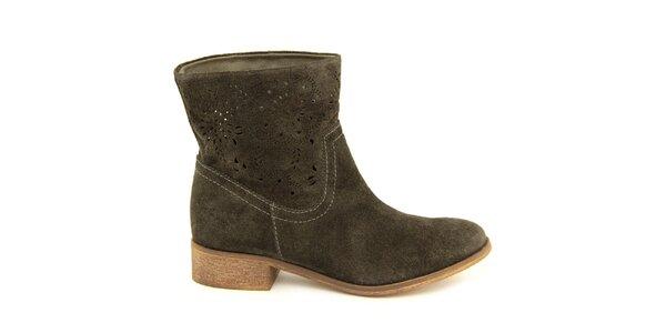 Dámské šedohnědé kotníčkové boty s perforací Giorgio Picino
