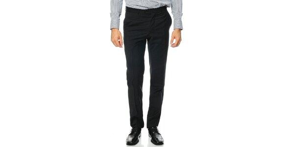 Pánské černé vlněné kalhoty Uomini Italiani