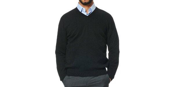 Pánský černý kašmírový svetr s véčkovým výstřihem Uomini Italiani
