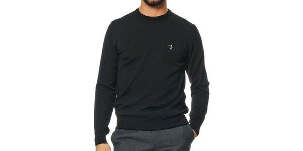 Pánský černý svetr z merino vlny Uomini Italiani