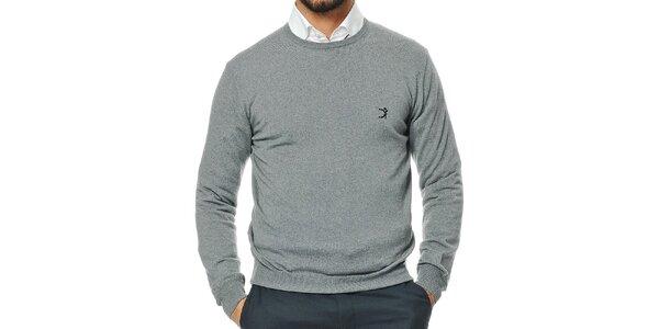 Pánský šedý svetr z merino vlny Uomini Italiani