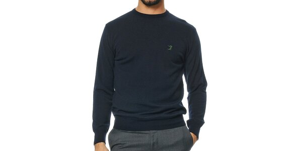 Pánský tmavomodrý svetr z merino vlny Uomini Italiani