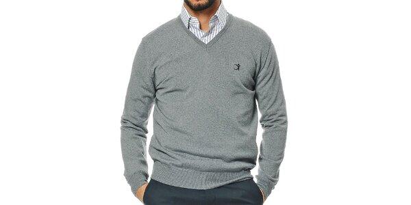 Pánský šedý svetr z merino vlny s véčkovým výstřihem Uomini Italiani
