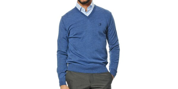 Pánský modrý svetr z merino vlny s véčkovým výstřihem Uomini Italiani