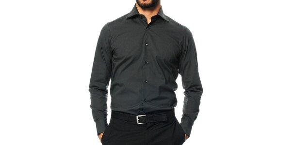 Pánská tmavě šedá košile s dlouhým rukávem Uomini Italiani