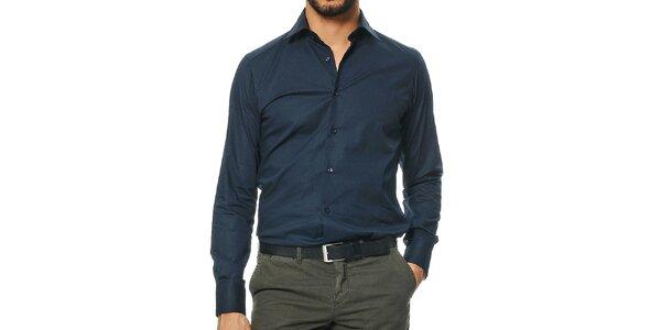 Pánská tmavě modrá košile s dlouhým rukávem Uomini Italiani