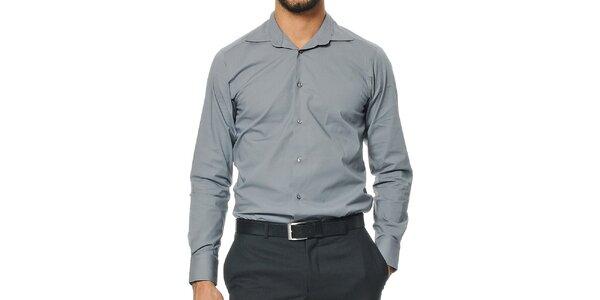 Pánská šedá košile s dlouhým rukávem Uomini Italiani