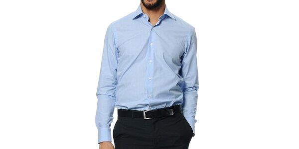 Pánská světle modrá košile s dlouhým rukávem Uomini Italiani