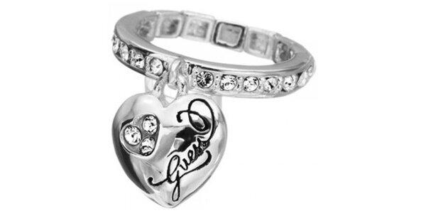 Dámský prsten ve stříbrné barvě Guess