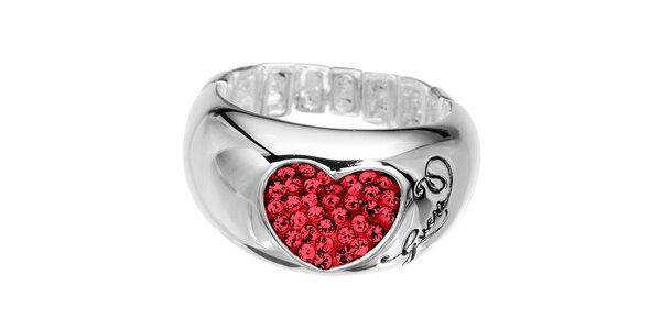 Dámský prsten s rudým srdcem Guess