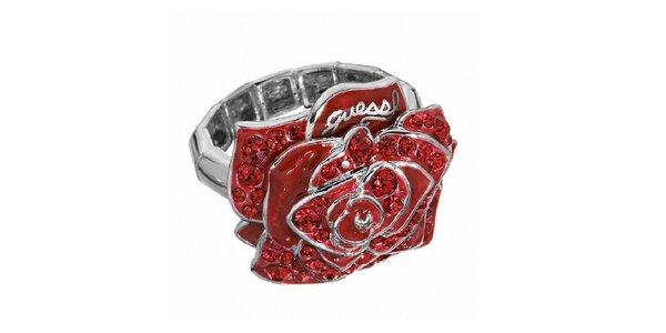 Dámský prsten s červenou růží Guess