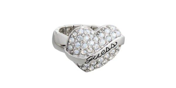 Dámský prstýnek s kamínkovým srdcem Guess
