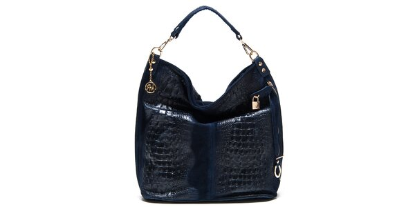 Dámská modrá lesklá kabelka s reliéfním vzorem Roberta Minelli