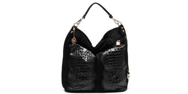 Dámská černá lesklá kabelka s reliéfním vzorem Roberta Minelli