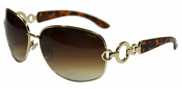 Dámské zlaté sluneční brýle Revlon s leopardími stranicemi
