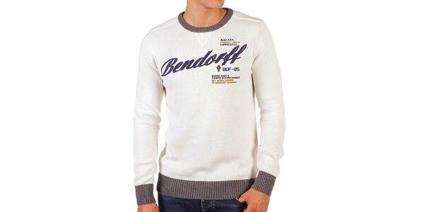 Pánský krémový svetr s kontrastními lemy Bendorff