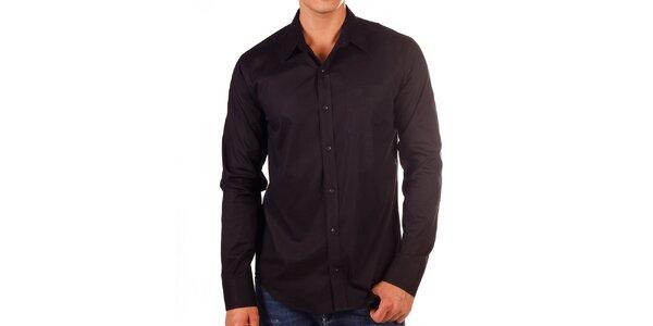 Pánská černá košile s kapsičkou na hrudi Bendorff