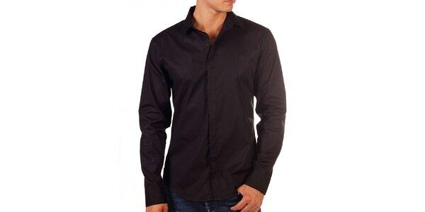 Pánská černá košile s výšivkou na hrudi Bendorff