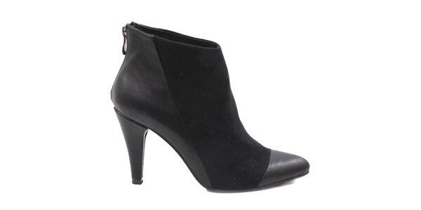 Dámské černé kotníčkové boty na podpatku Drastik
