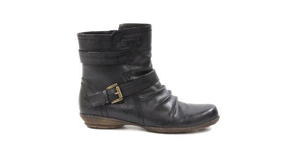 Dámské černé kotníkové boty s páskem Drastik