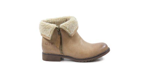 Dámské béžové boty s kožíškem Drastik