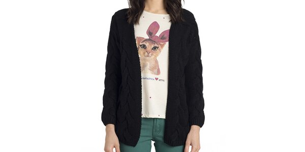 Dámský černý copánkový pletený svetr Compania Fantastica