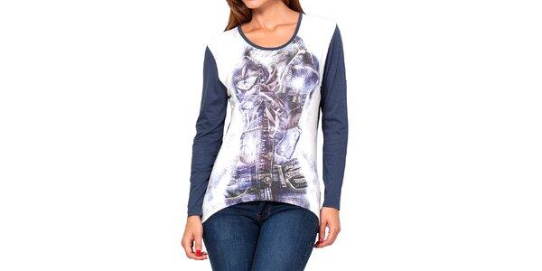 Dámské modro-bílé tričko s potiskem Kool