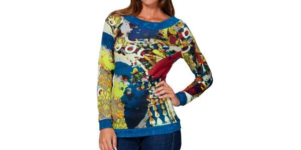 Dámské barevné tričko s modrým lemováním Kool