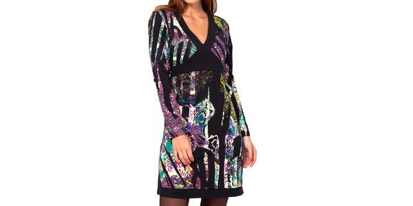 Dámské barevné vzorované šaty s véčkovým výstřihem Kool