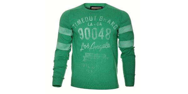 Pánský světle zelený svetr Timeout s potiskem