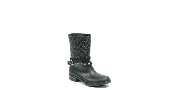 Dámské černé prošívané boty s páskem Favolla