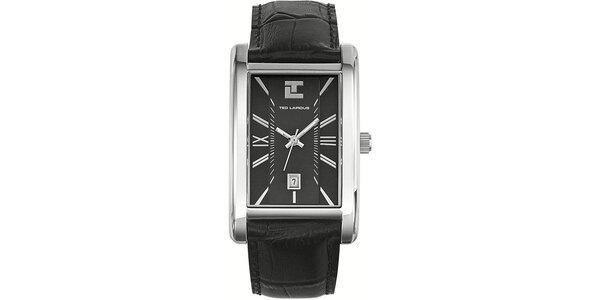 Pánské hodinky s hranatým ciferníkem a černým koženým řemínkem Ted Lapidus
