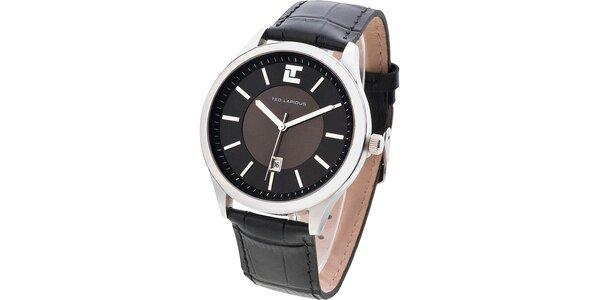Pánské tmavé hodinky s kulatým ciferníkem Ted Lapidus