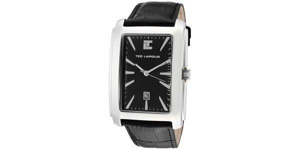 Pánské hodinky s hranatým ciferníkem a černým řemínkem Ted Lapidus