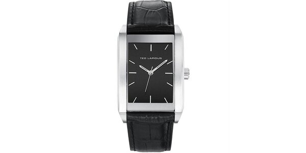 Pánské hodinky s černým hranatým ciferníkem Ted Lapidus