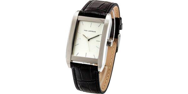 Pánské ocelové hodinky s hranatým světlým ciferníkem Ted Lapidus