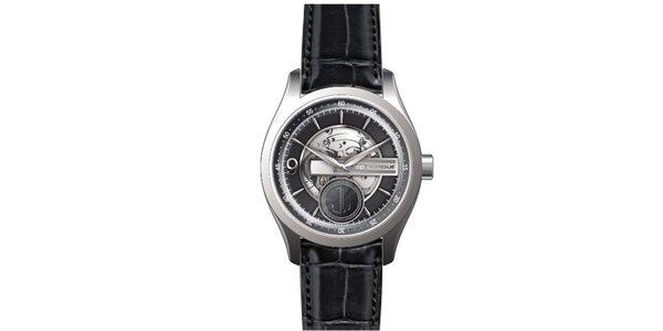 Pánské ocelové hodinky s koženým řemínkem černé barvy Ted Lapidus