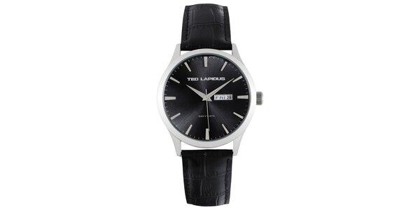 Pánské ocelové hodinky s černým kulatým ciferníkem Ted Lapidus