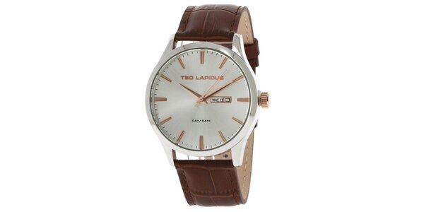 Pánské ocelové hodinky s koženým řemínkem hnědé barvy Ted Lapidus