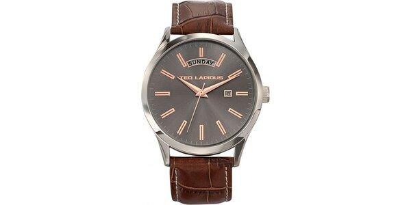 Pánské ocelové hodinky s šedým ciferníkem Ted Lapidus
