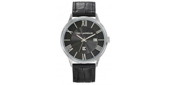 Pánské ocelové hodinky s výrazným černým kulatým ciferníkem Ted Lapidus