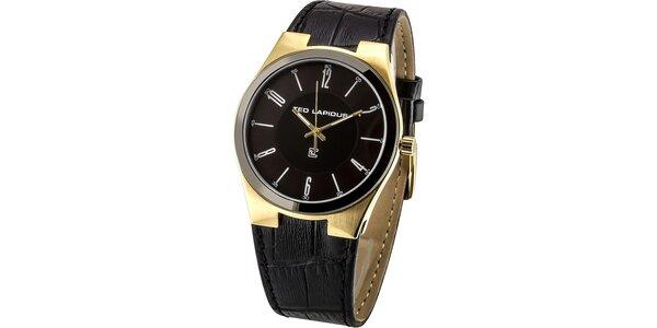 Pánské černé hodinky se zlatými prvky Ted Lapidus