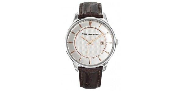 Pánské ocelové hodinky s tmavě hnědým páskem Ted Lapidus
