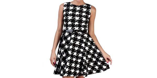 Dámské černo-bílé šaty s kohoutí stopou Pepper Tree